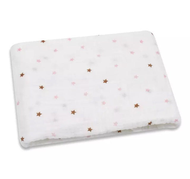 Large Muslin/ Swaddle Blanket - Pink Gold Stars