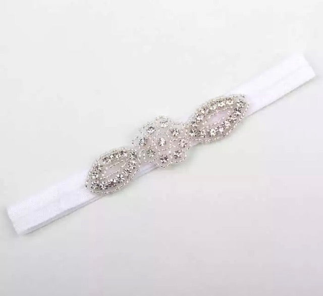 Baby Christening Headband - White