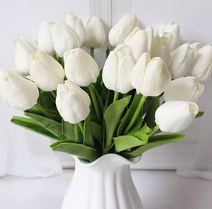 Artificial White Tulips - 10Pcs