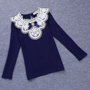 Navy Lace Brooch Top
