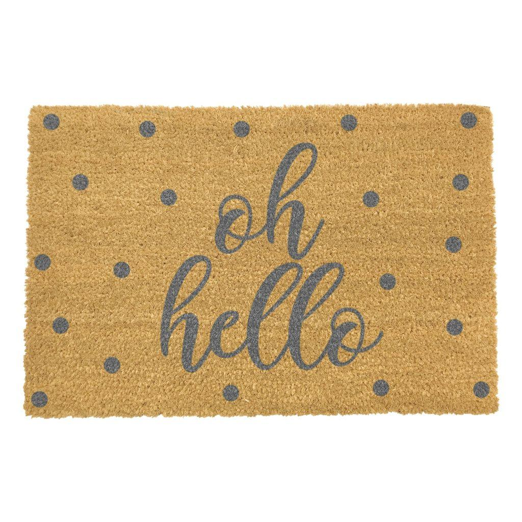 Spotty Oh Hello Doormat With Grey Font