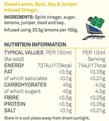 Lemon, Basil, Bay & Juniper Vinegar Nutritional table