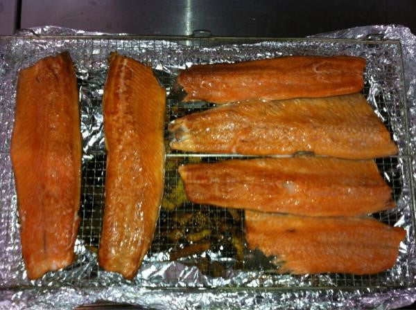 Liquorice and anise smoked trout cured in Orange & Mace Vinegar