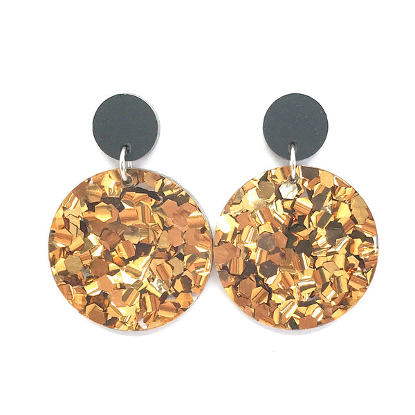 Chunky Bronze Glitter Circle Earrings