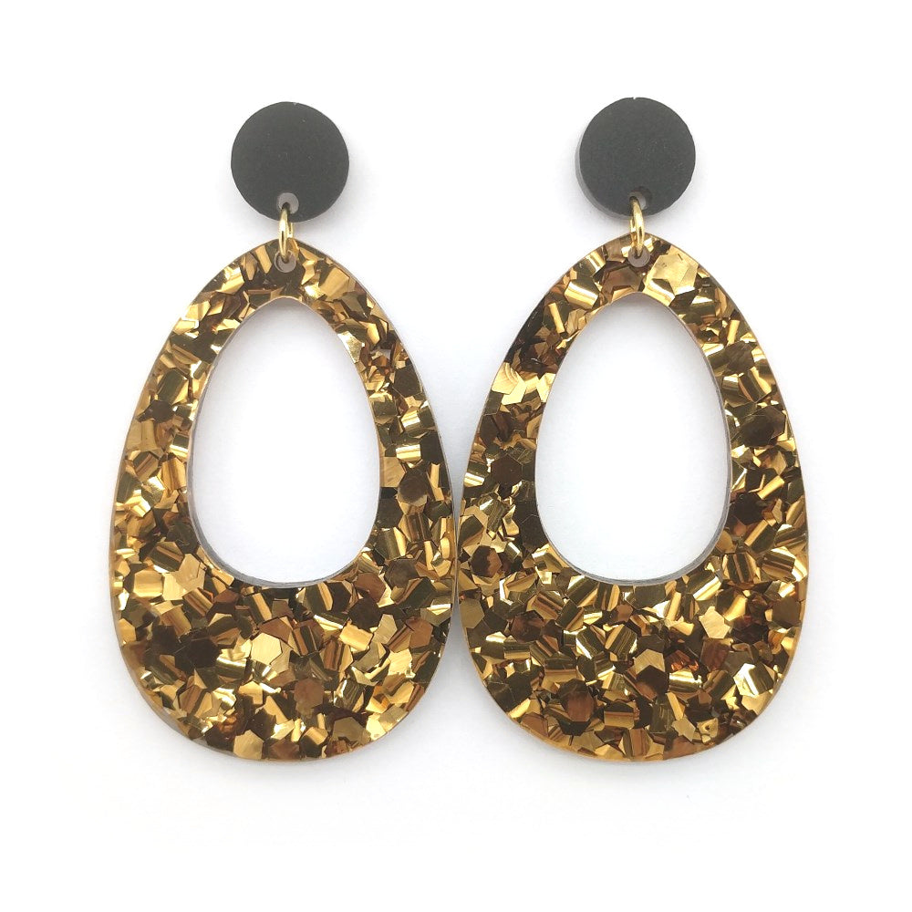 Chunky Bronze Glitter Large Hollow Egg Earrings