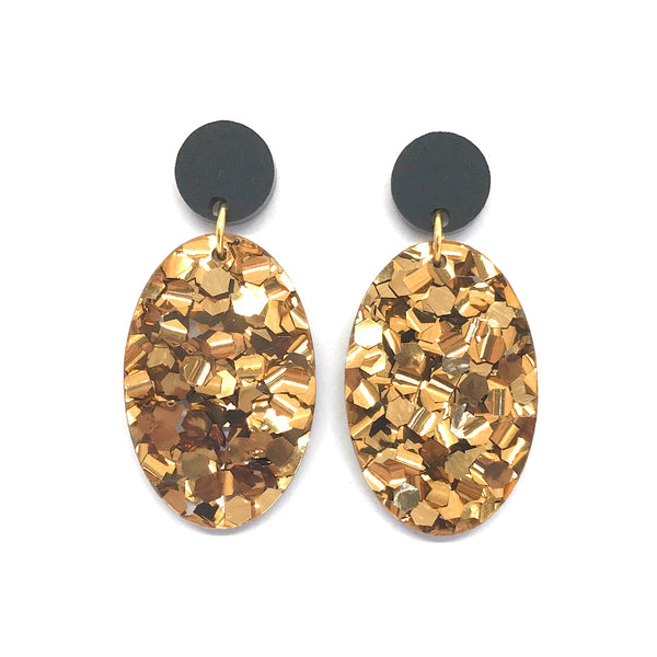 Chunky Bronze Glitter Large Oval Earrings