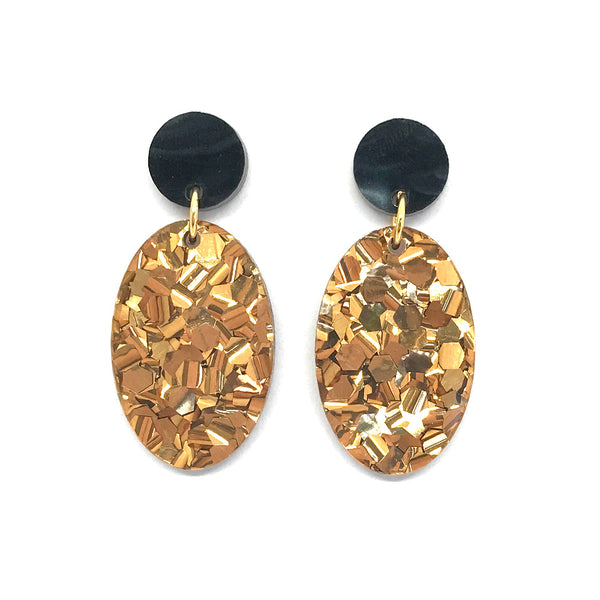 Chunky Bronze Glitter Small Oval Earrings