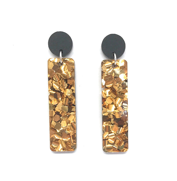Chunky Bronze Glitter Stick Earrings