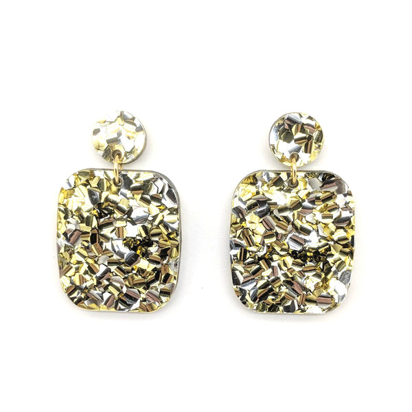 Chunky Silver-Gold Glitter Large Rectangle Earrings