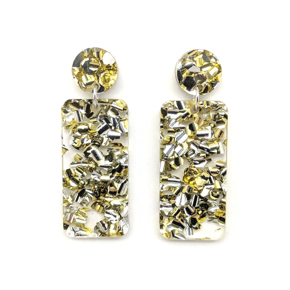 Chunky Silver-Gold Glitter Rectangle Earrings