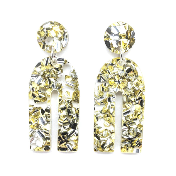 Chunky Silver-Gold Glitter U Shaped Earrings