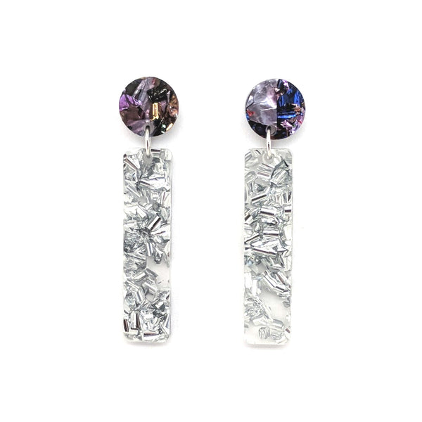Chunky Silver Glitter Stick Earrings