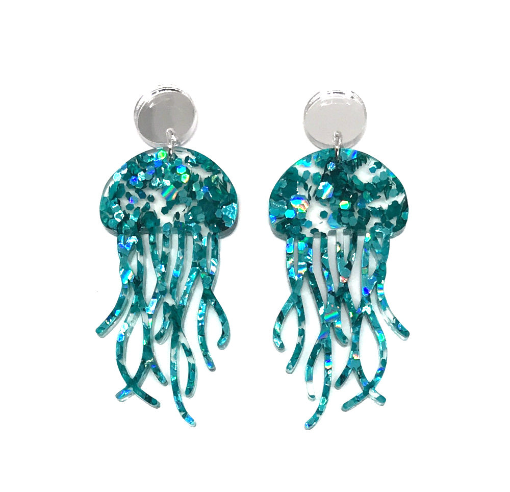 Chunky Teal Glitter Jellyfish Earrings