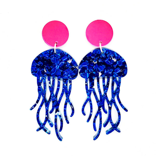 Chunky Blue Glitter Jellyfish Earrings