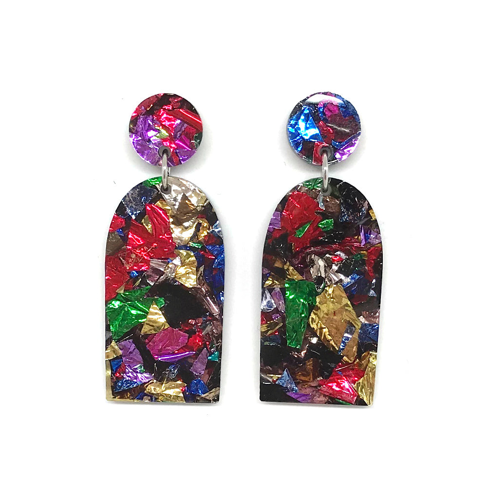 Chunky Crinkle Glitter Door Earrings