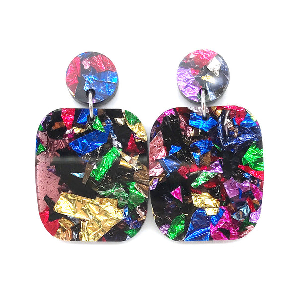 Chunky Crinkle Glitter Large Rectangle Earrings