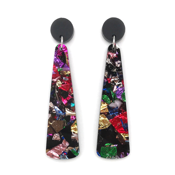 Chunky Crinkle Glitter Long Drop Earrings