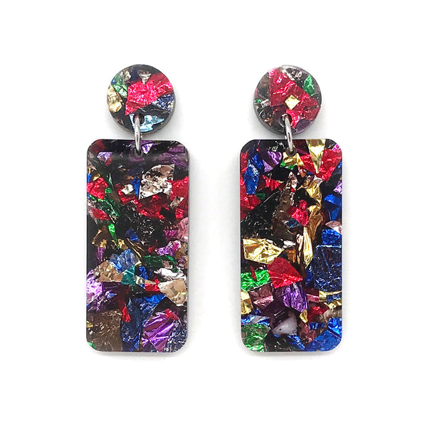 Chunky Crinkle Glitter Rectangle Earrings