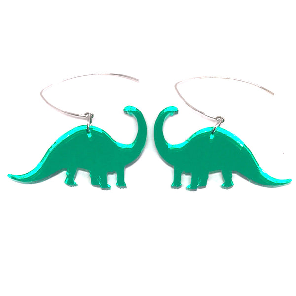 Green Mirror Diplodocus Earrings