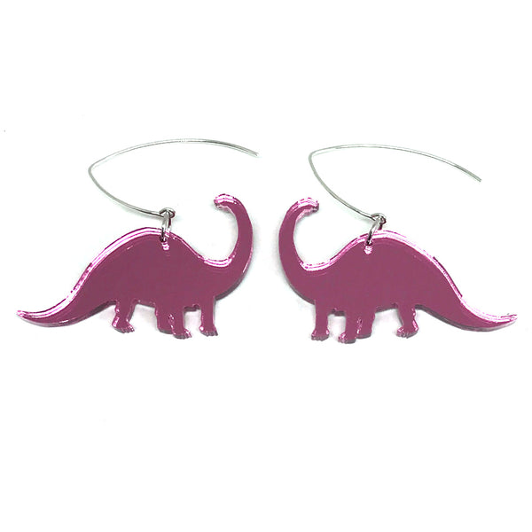 Pink Mirror Diplodocus Earrings