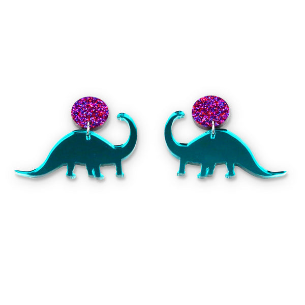 Teal Mirror Diplodocus Stud Earrings