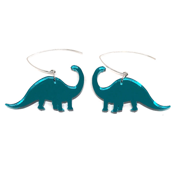 Teal Mirror Diplodocus Earrings
