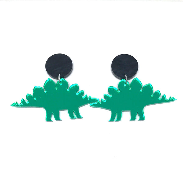 Green Mirror Stegasaurus Earrings
