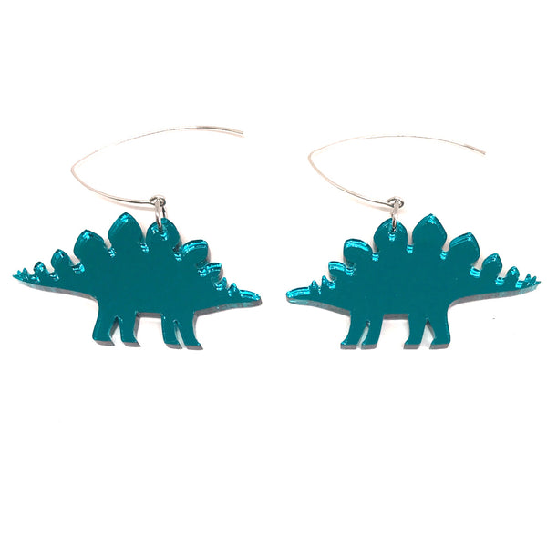 Teal Mirror Stegosaurus Earrings