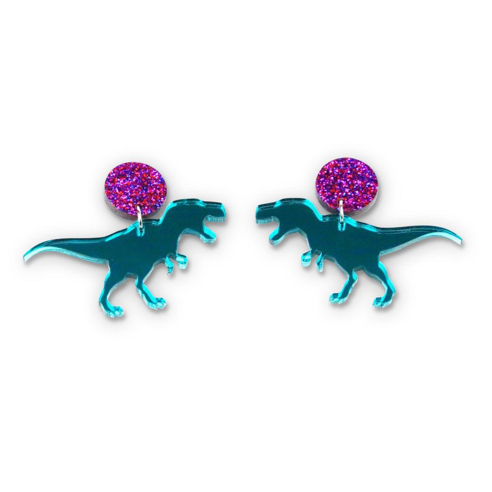 Teal Mirror T-Rex Stud Earrings