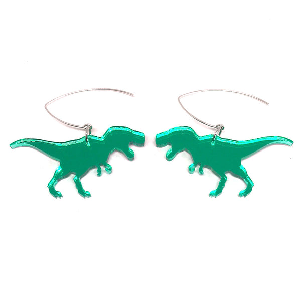 Green Mirror T-rex Earrings
