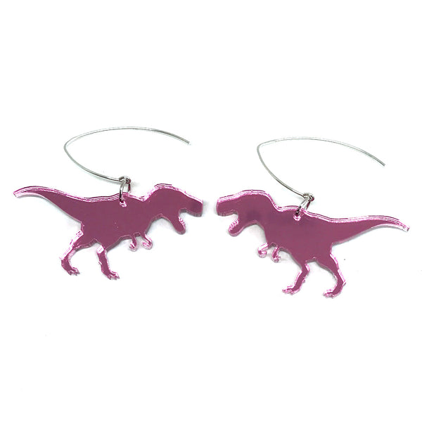 Pink Mirror T-Rex Earrings