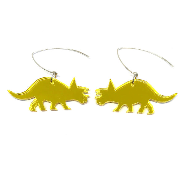 Yellow Mirror Triceratops Earrings