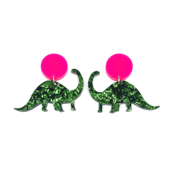 Chunky Green Glitter Diplodocus Stud Earrings