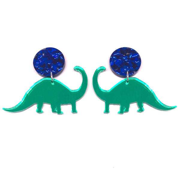 Green Mirror Diplodocus Stud Earrings