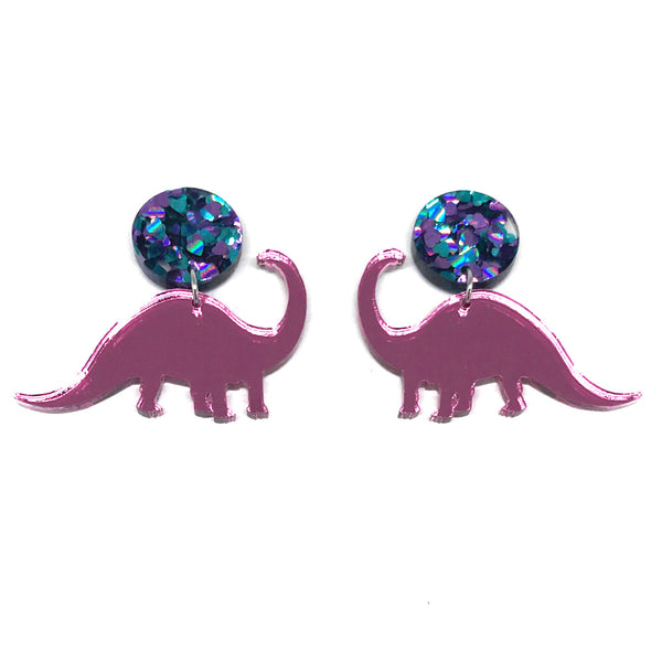 Diplodocus Pink Mirror Heart Glitter Stud Earrings