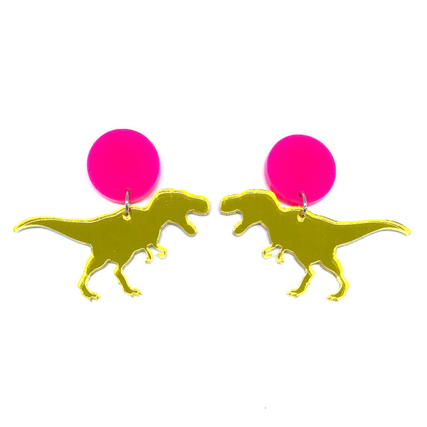T-Rex Yellow Mirror Hot Pink Stud Earrings