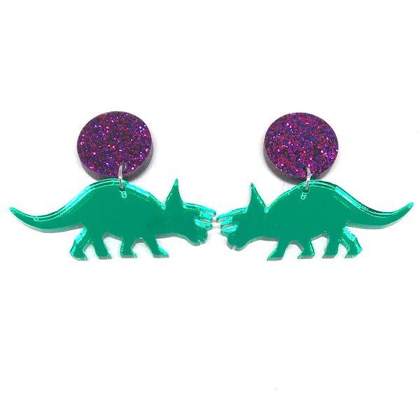 Green Mirror Triceratops Stud Earrings