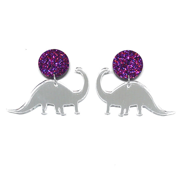 Diplodocus Silver Mirror Ruby Stud Earrings