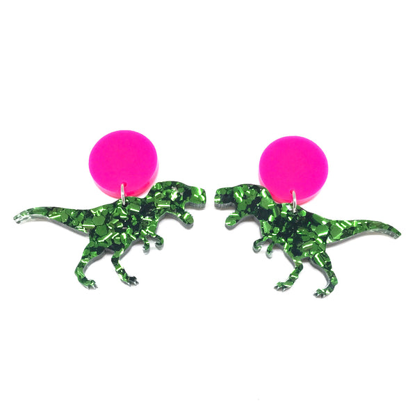 Chunky Green Glitter T-Rex Stud Earrings