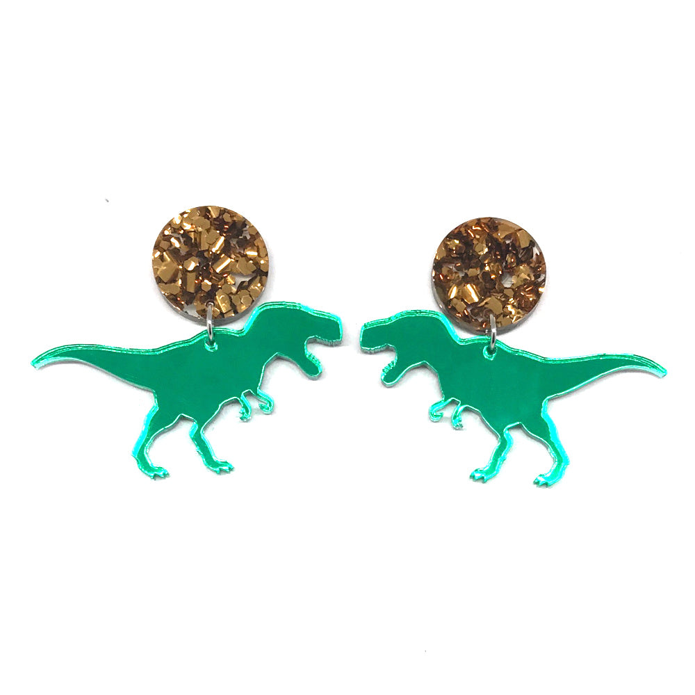 T-Rex Green Mirror Bronze Stud Earrings