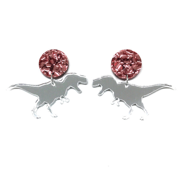 T-Rex Silver Mirror Rose Gold Stud Earrings