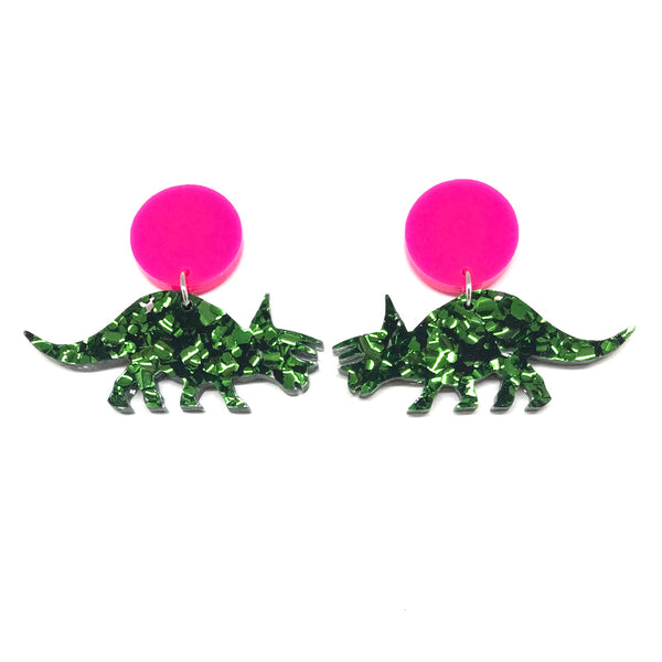 Chunky Green Glitter Triceratops Stud Earrings
