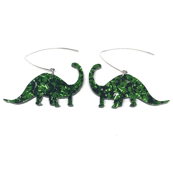Chunky Green Glitter Diplodocus Earrings
