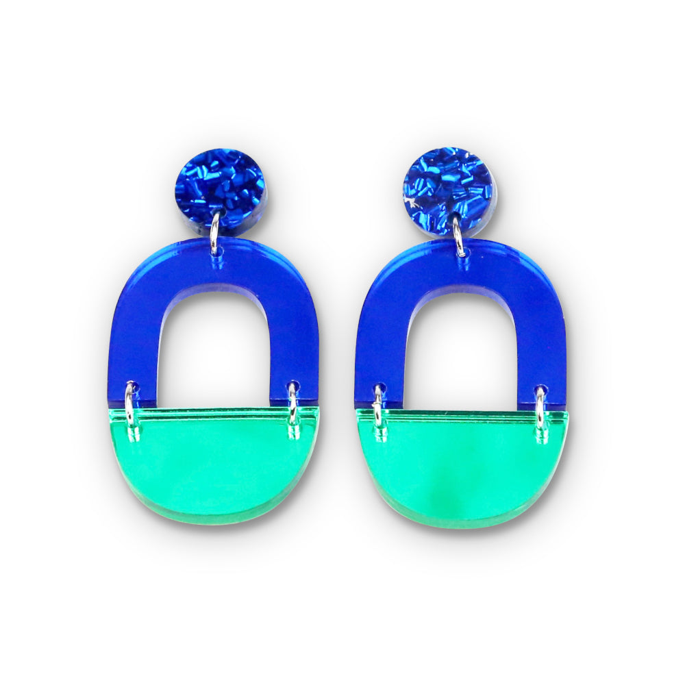 Blue & Green Mirror Arch Dangle Earrings