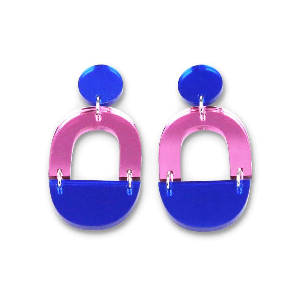 Blue & Pink Mirror Arch Dangle Earrings