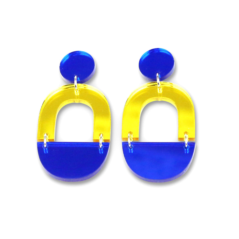 Blue & Yellow Mirror Arch Dangle Earrings