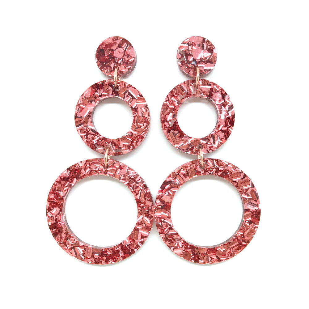 Double Ring Dangle Earring - Rose Gold