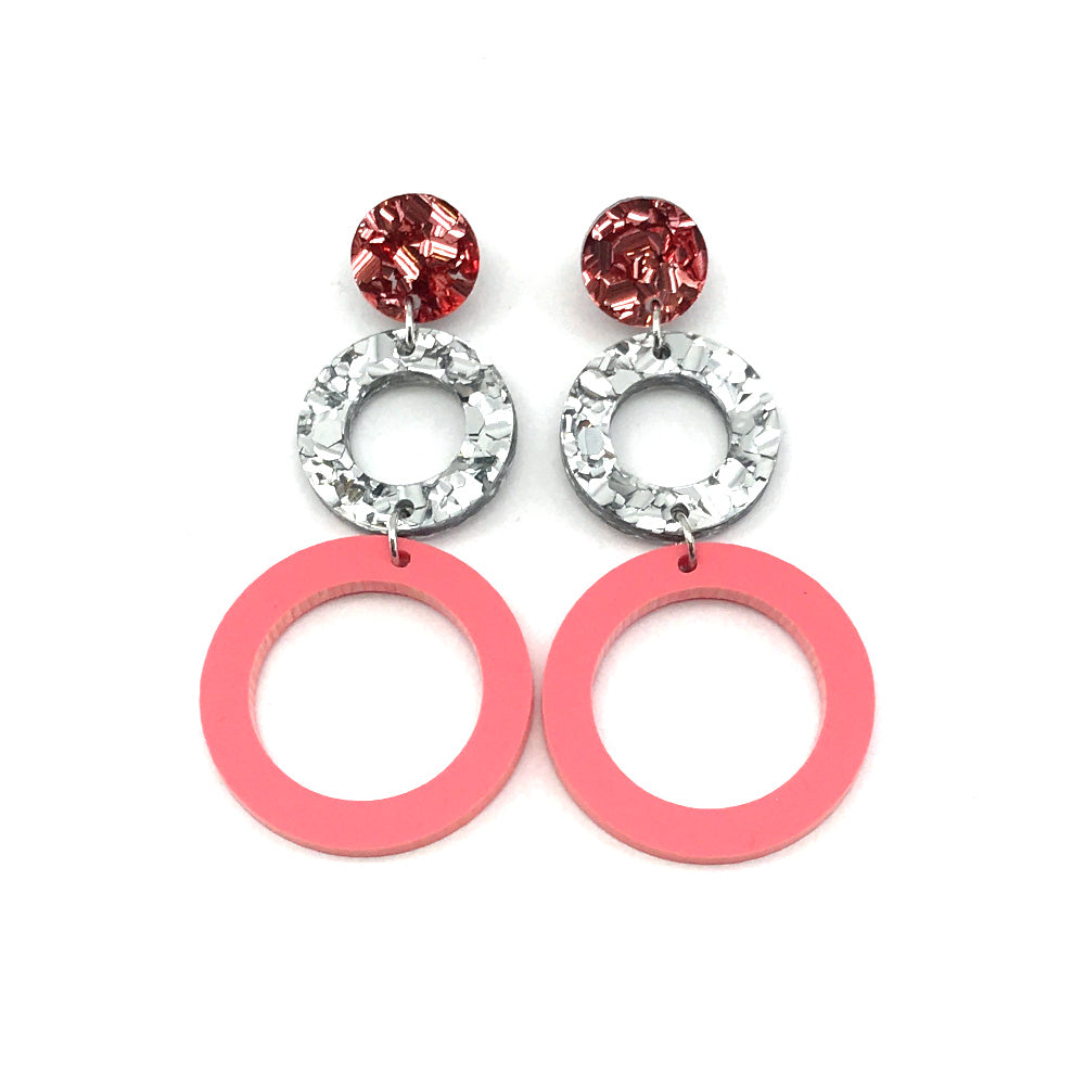 Double Ring Dangle Earring - Rose Gold, Chunky Silver & Pastel Raspberry