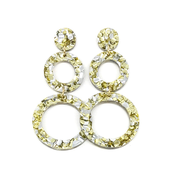 Double Ring Dangle Earring - Chunky Silver & Gold