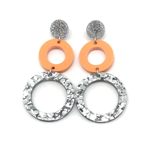 Double Ring Dangle Earring - Stardust, Pastel Apricot & Chunky Silver